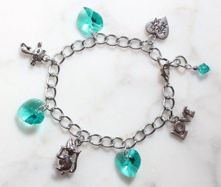 armband mit swarovski kristallen herz t rkis armkettchen armkette schmuck box ebay. Black Bedroom Furniture Sets. Home Design Ideas
