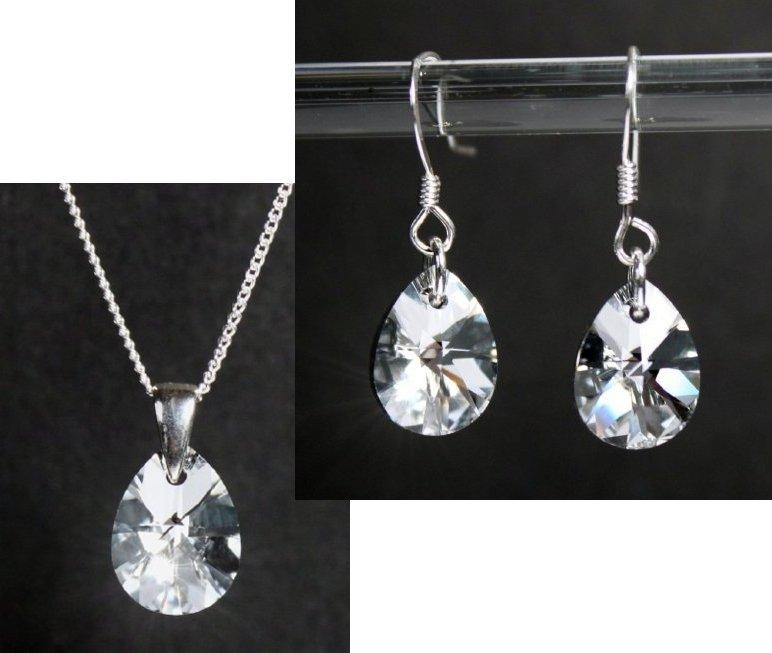kristall schmuck set silber 925 mit swarovski kristallen tropfen spiegelnd ebay. Black Bedroom Furniture Sets. Home Design Ideas